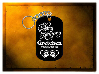 Pet Remembrance Keychain - In Loving Memory - Hard Anodized Black - Personalized