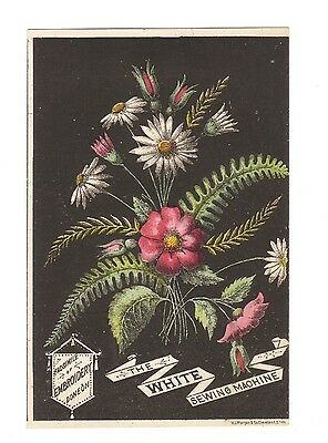 White Sewing Machine Trade Card -Embroidery Facsimile Flowers