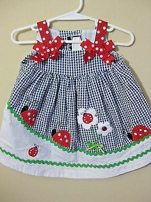 Rare Editions Ladybug Dress Size 6 Months Infant Baby Girls Summer Clothes Euc