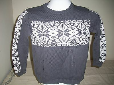 HANNA ANDERSSON, Kids Gray Sweater, White Snowflakes/Stars, Size 140/US10
