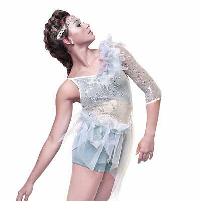Dance Costume XL Child Silver White Snow Jazz LyricalSolo Competition Pageant
