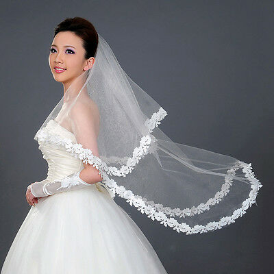 Flower Lace Edge Bridal Long Veil Bride Wedding Accessories Cathedral Romantic