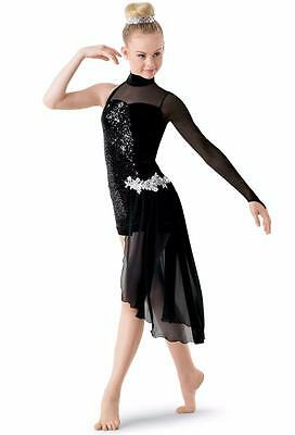 NEW Dance Costume Large Adult Black Sequin Jazz Lyrical Modern Solo Competition