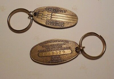 "Vintage Chevrolet ""Deposit in any Mailbox"" Key Ring Set of 2 w/ Matching Numbers"