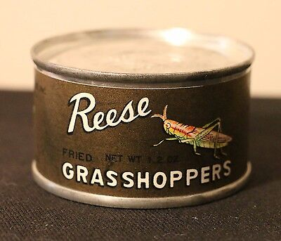 Vintage Can of Fried Grasshoppers - Reese Fine Foods - Rare 1940s Tin