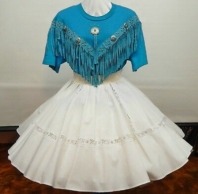 2 Piece Teal And White Square Dance Dress