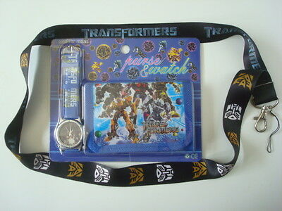LOT New *TRANSFORMERS* Kids Wallet & Watch Combo + Lanyard/Cell Phone Strap (S1)