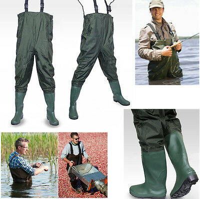 Waterproof Waders Fishing Trousers PVC / Rubber Pond Pants Brule River Chest UK