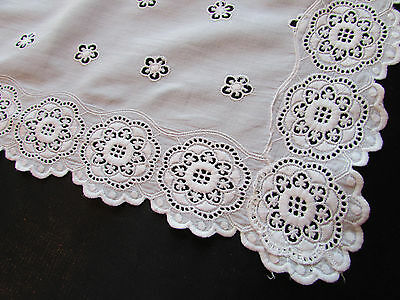 Vintage / Antique White Dresser Scarf / Table Runner Embroidered White Work
