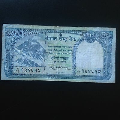 NEPAL!! 50  RUPEES MT.EVEREST Sign# 19 P#.   REPLACEMENT PREFIX:GHA 69 Used.
