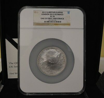 London 2012 Olympics 5 oz Silver Pegasus 10 Pound Coin NGC PF70 Box & COA, RARE!