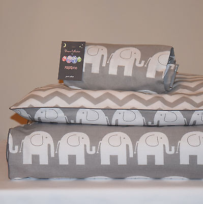 100%COTTON Cot Bed Duvet Cover Set & Fitted Sheet Grey Chevron Elephants nursery