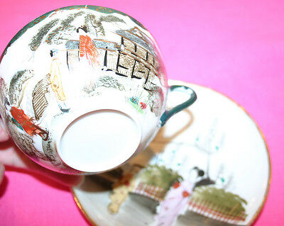 Antique Hand Painted Japanese Tea Cup-Saucer-REDUCED