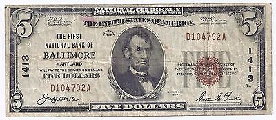 $5.00 Circulated 1929 NATIONAL BANK NOTE Baltimore, MD. T1 Charter #1413