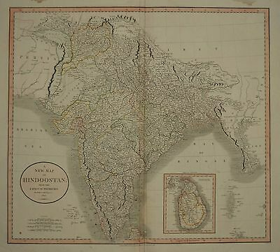 India. A New Map Of Hindoostan By John Cary 1806.