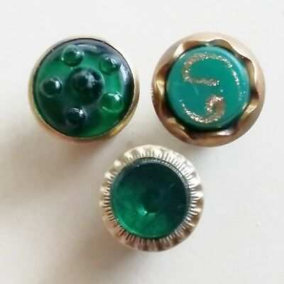 #4R Lot of 3 Antique Green Glass Mounted in Brass rim Steel Bk Waistcoat Buttons