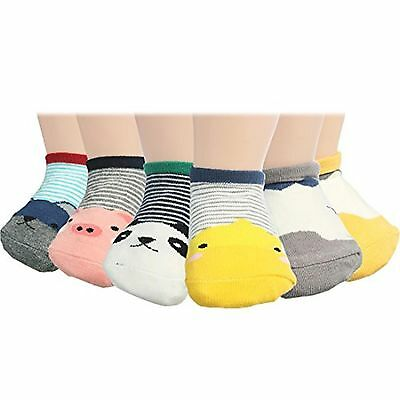 KF Baby Non-Skid Low Cut Cotton Socks Value Pack [6 Pairs], Infant to Toddler