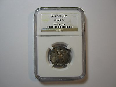 1917 Type 1 NGC MS 63 FH Standing Liberty Quarter Toned