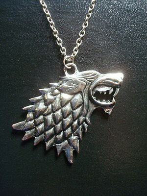 Brand New *GAME of THRONES* Necklace - Dire Wolf STARK Sigil Pendant & Chain