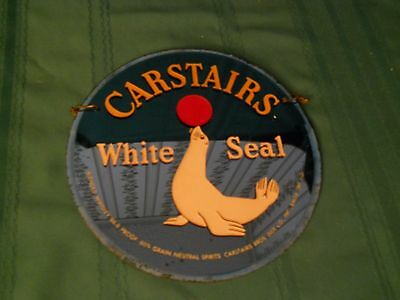 Vintage Carstairs White  Seal Whiskey Advertising Sign Reverse Painted Glass