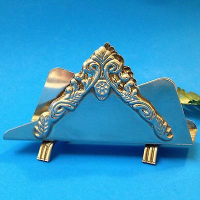 Silver Plate with Filigree -  Napkin Letter Business Card Holder - Footed