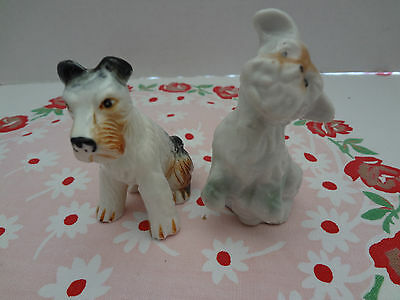 Vintage Wire Haired Jack Russell  Dog Figurines 1 Bone China 1 Japan