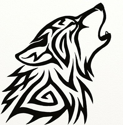 Tribal Wolf Car Laptop YETI Decal Sticker Howl Many Colors to CHOOSE LARGE