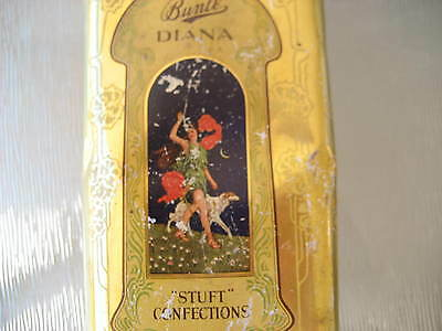 """Old colorful 3 lb. candy tin """" Bunte DIANA STUFT CONFECTIONS"""" Chicago 1920's"""