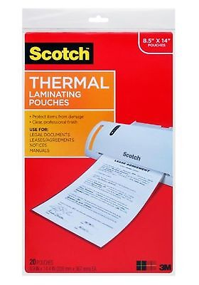Scotch TP3855-20 Thermal Laminating Pouches 8.5 in x 14.0-Inch pouches Legal ...