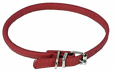 Dogline Soft Padded Rolled Round Leather Dog Collar, Red, 13-16 x 1/3-Inch