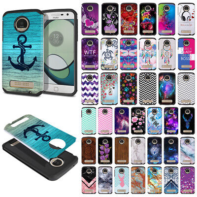 For Motorola Moto Z Play Droid XT1635 Hybrid Fusion Rubber Silicone Case Cover