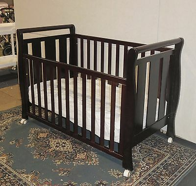 NEW 3 in 1 Sleigh Cot with Innerspring Mattress Baby Crib Wheel Junior Bed Brown