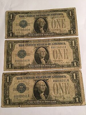 """3-1928 One Dollar Silver Certificates """"Funny back"""""""