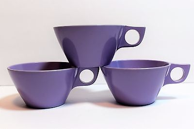 Vintage Melmac Texas Ware  Lavender Corsage Coffee Cups Lot of 3 Glamping