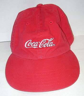Vintage Red Embroidered Coca Cola Ball Cap Hat w/Brass Lever for Size Adjustment