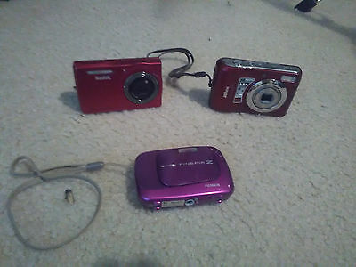 Lot Of 3 Assorted Digital Cameras & Accessories UNTESTED AS IS FOR PARTS ONLY