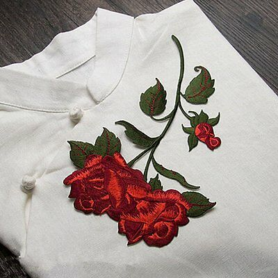 Rose Blossom Flower Sticker Applique Clothing Embroidery Patch Fabric Decoration