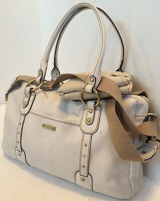 STORKSAK Women's White Genuine Leather Baby Diaper Bag Shoulder Handbag
