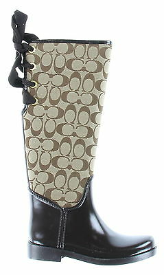 New With Box Women's COACH Brown Canvas And Rubber Rain Boots Size 5