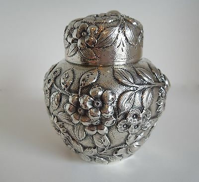 S. Kirk & Son Co. Floral Repousse TEA CADDY Sterling Silver pattern #13