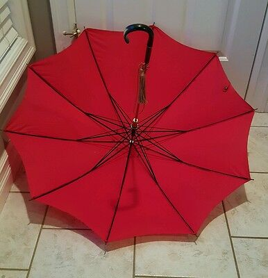 Beautiful Vintage Red Umbrella Parasol Wood & Lucite Handle