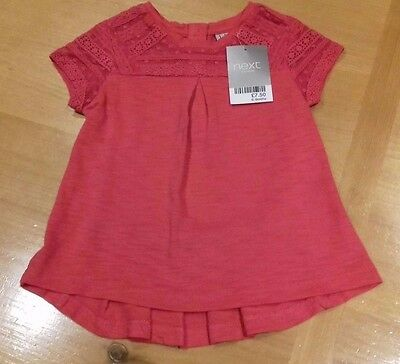 BNWT Baby Girls Pretty Cerise Pink Lace Detail Top from NEXT Size 6-9 Months