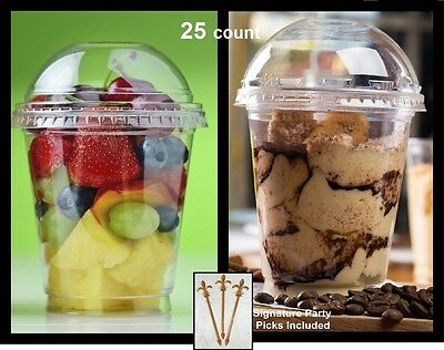 Pack of 25 Clear Plastic Parfait Cup 12 oz with Dome Lid w/Signature Party Picks