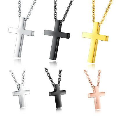 Children Boy Girl Tiny Simple Stainless Steel Cross Pendant Small Necklace Gift