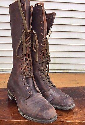 Antique Vintage Calvary Boy Scout BOOTS All Brown Leather  Sz 8-8.5 Lace