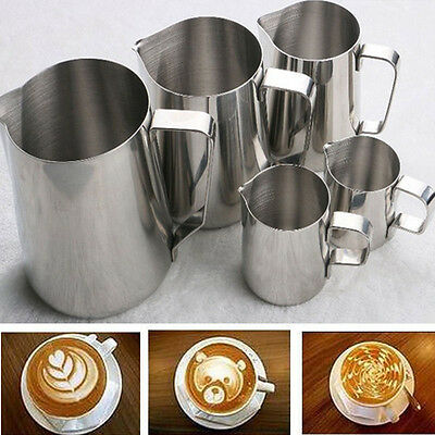 Kitchen Expresso Stainless Steel Craft Coffee Milk Latte Jug Frothing 100-600ML