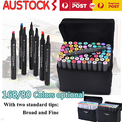 SET 80/168 Color TouchFive Alcohol Graphic Art Twin Tip Pen Marker Broad & Fine