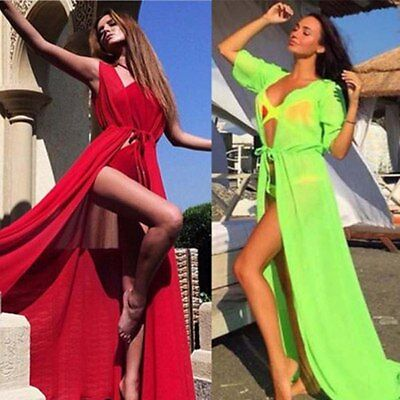 Women Chiffon Bikini Long Cover Up Cardigan Swimwear Beach Bathing Maxi Dress US
