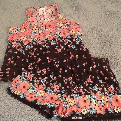 Girls shorts set from Justice, Top Size 18, Shorts Size 14, Coral and Black