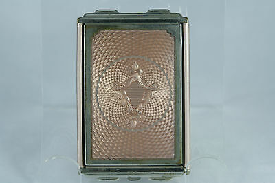 Victorian Girey Celluloid Guilloche Compact Powder Rouge Duo Dusty Pink